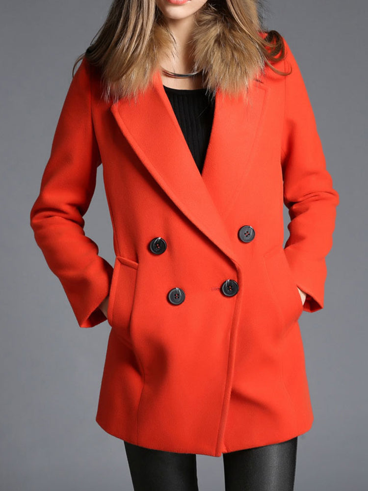Darorange Plain Double Breasted Trench Coat