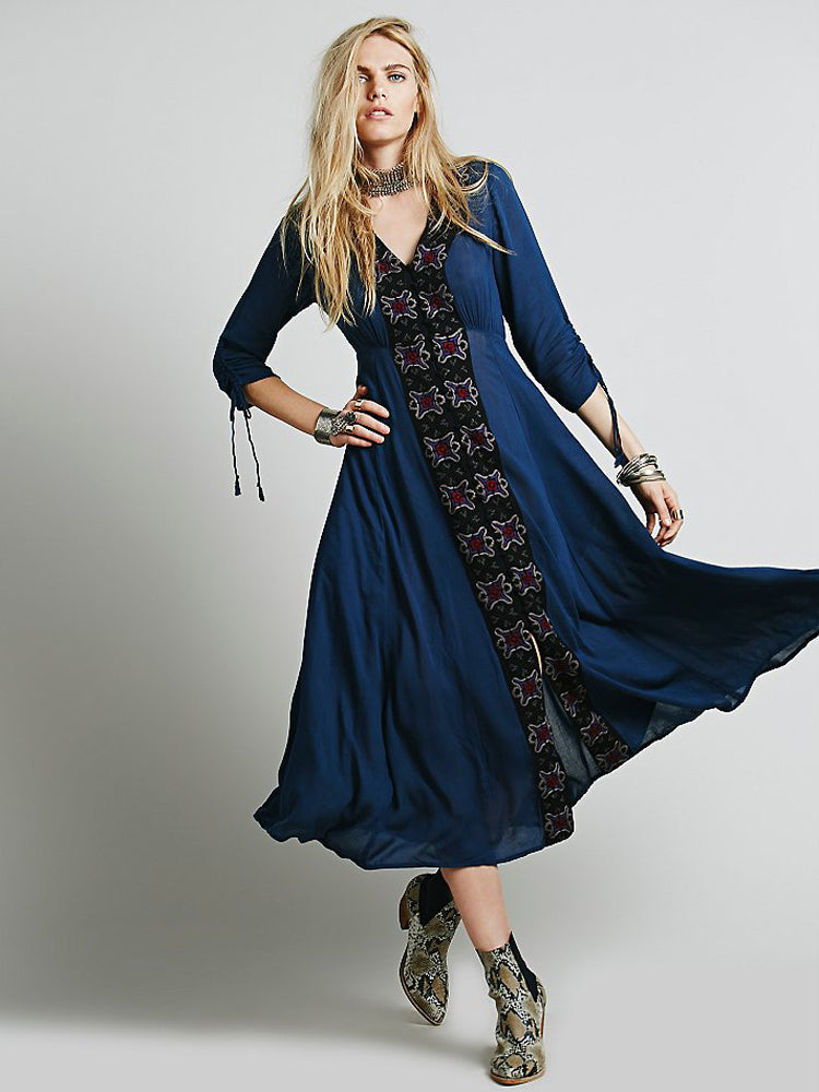 Embroidered Long Fairy Sleeve Dress - sparshine