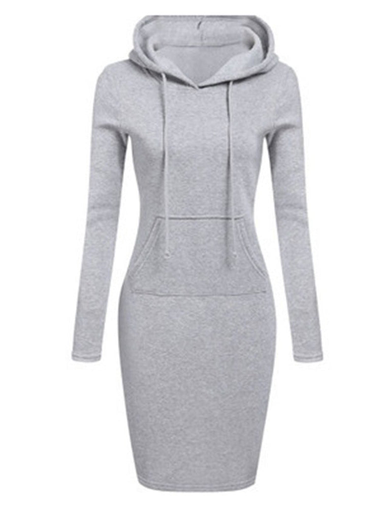 Fitness Black&Gray Hooded Bodycon Dress