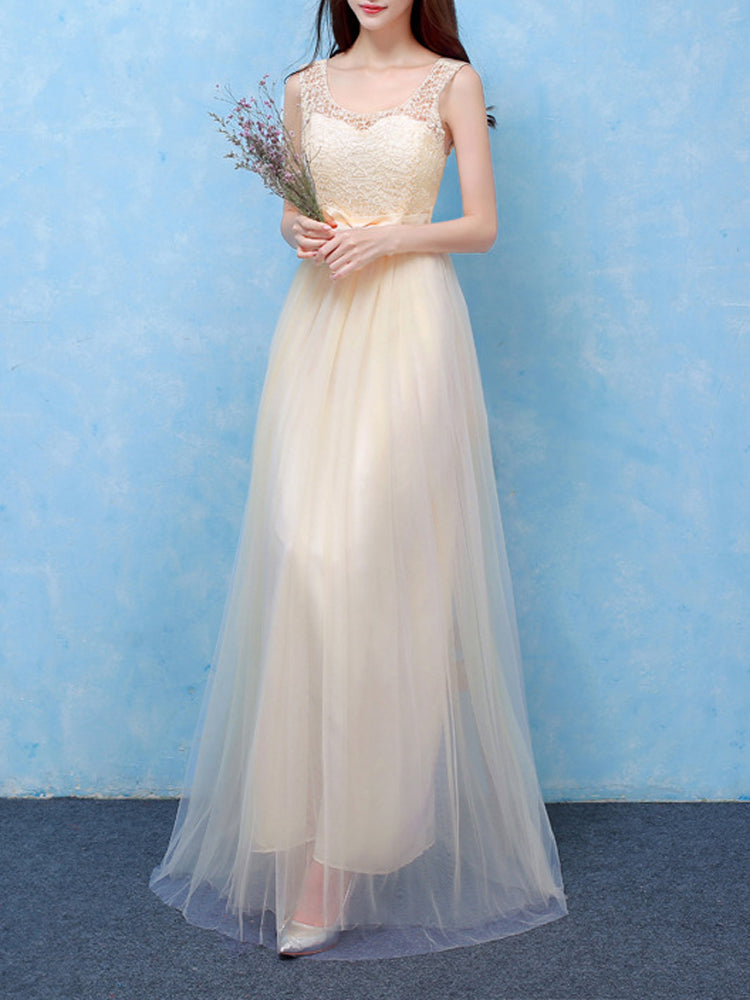 New Round Neck Sleeveless bridesmaid dress