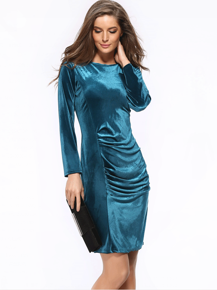 Long sleeved gold velvet bodycon dress
