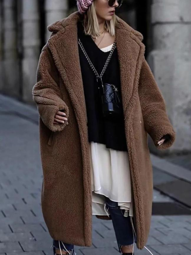 Lapel Neck Faux Shearing Trench Coat