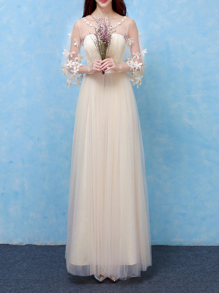 Lace stitching round neck high-end formal dress