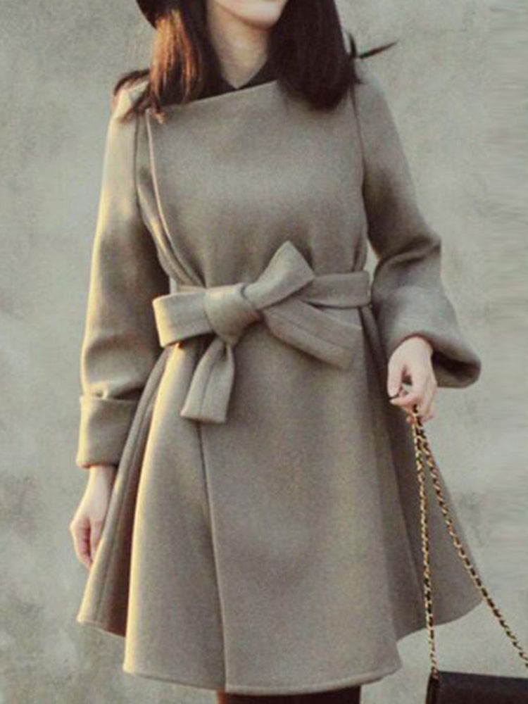 With Belt Round Neck Trench Coat