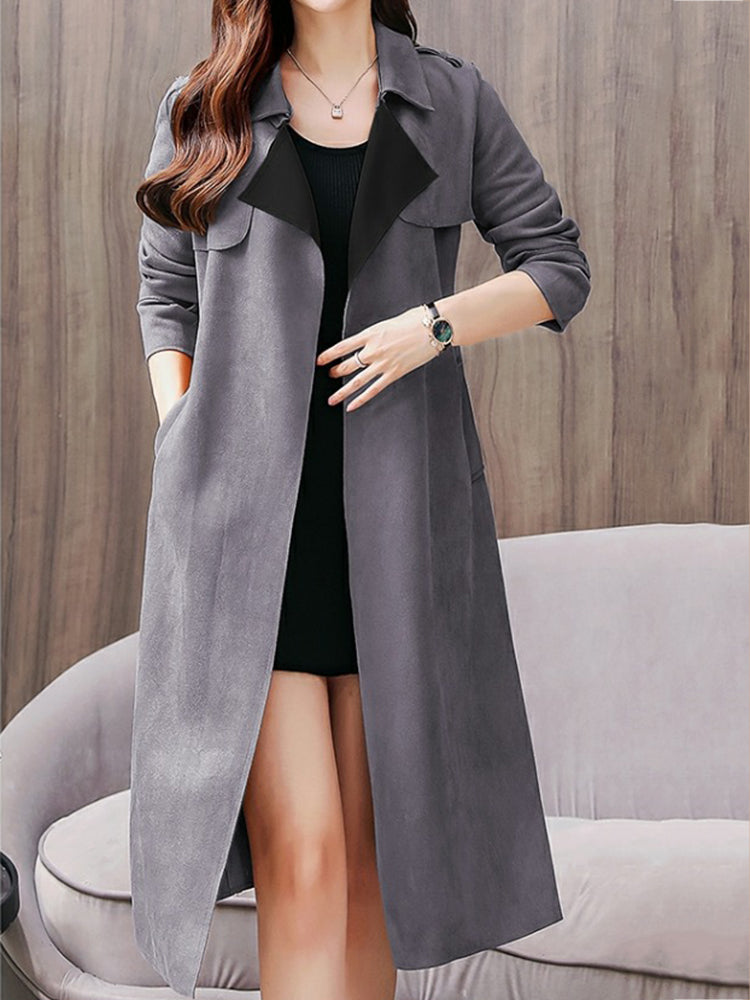 Plain With Belt With Pocket Trench Coat