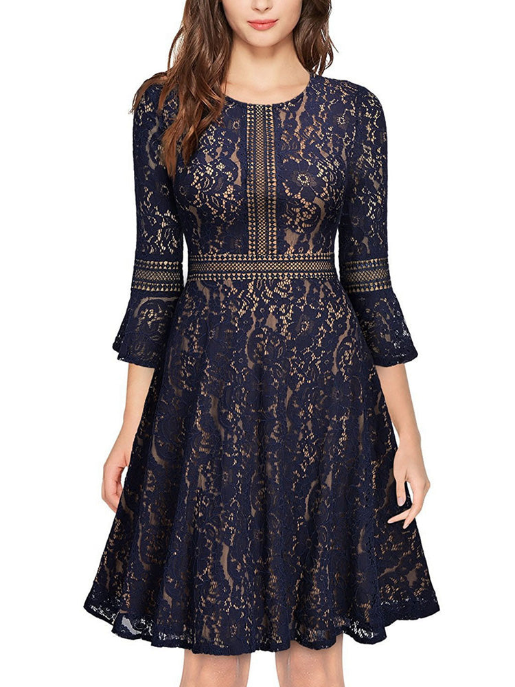 Blue flare sleeve round neck A-line dress