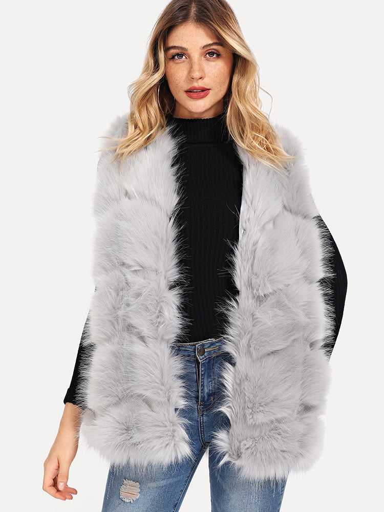 Fashion Women's Open Front Faux Fur Shell Coat