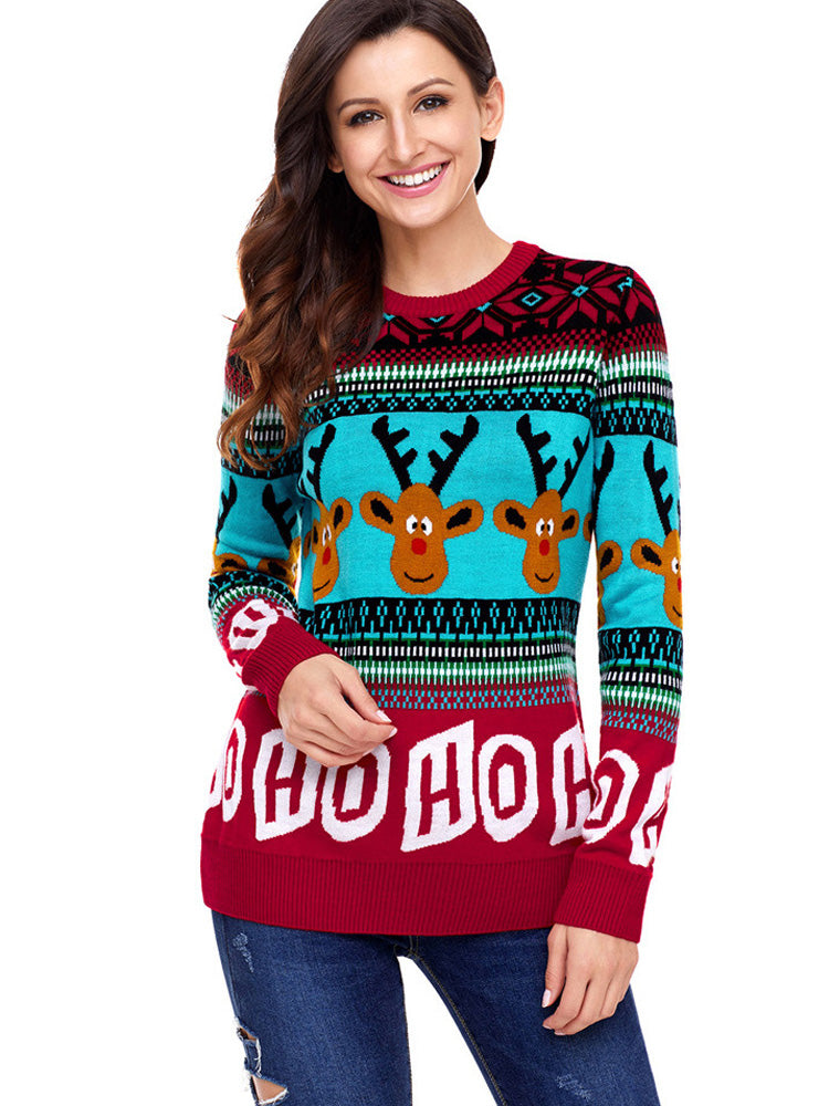 Round neck reindeer letter print  casual knit sweater