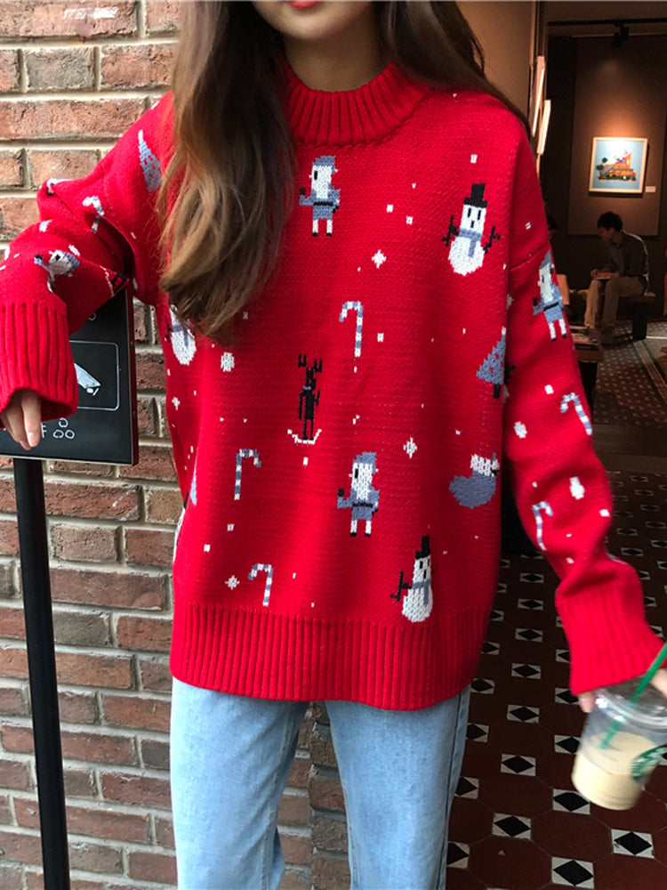 Knitted Turtleneck Santa Claus Pullovers Christmas Sweater