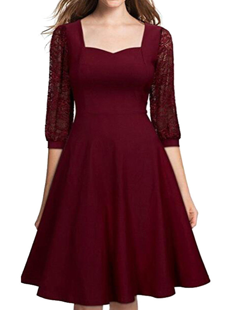Middle sleeve lace square A-line dress