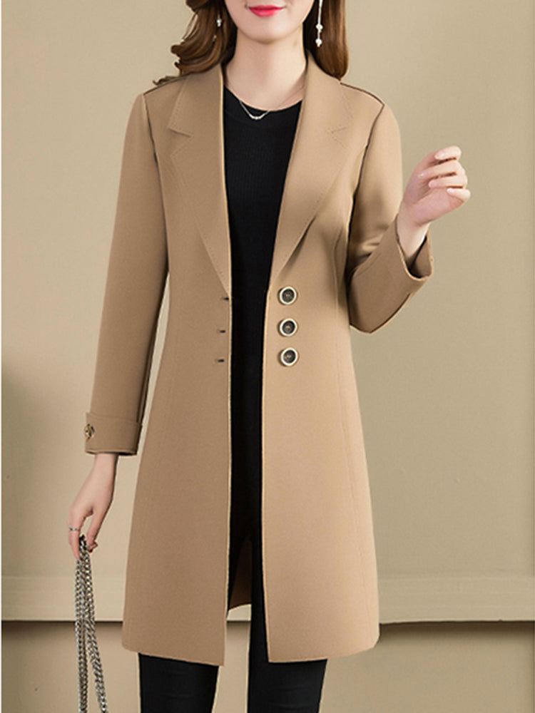 Single Breasted Plain Lapel Neck Trench Coat