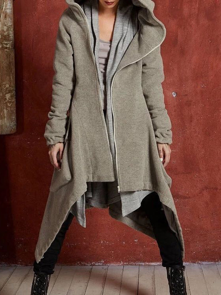 Cropped With Hooded Plain Trench Coat