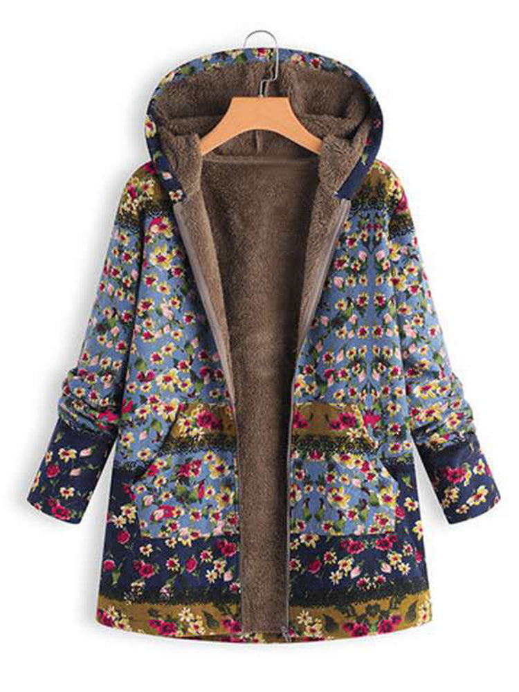 With Hooded Floral Faux Fur Coat