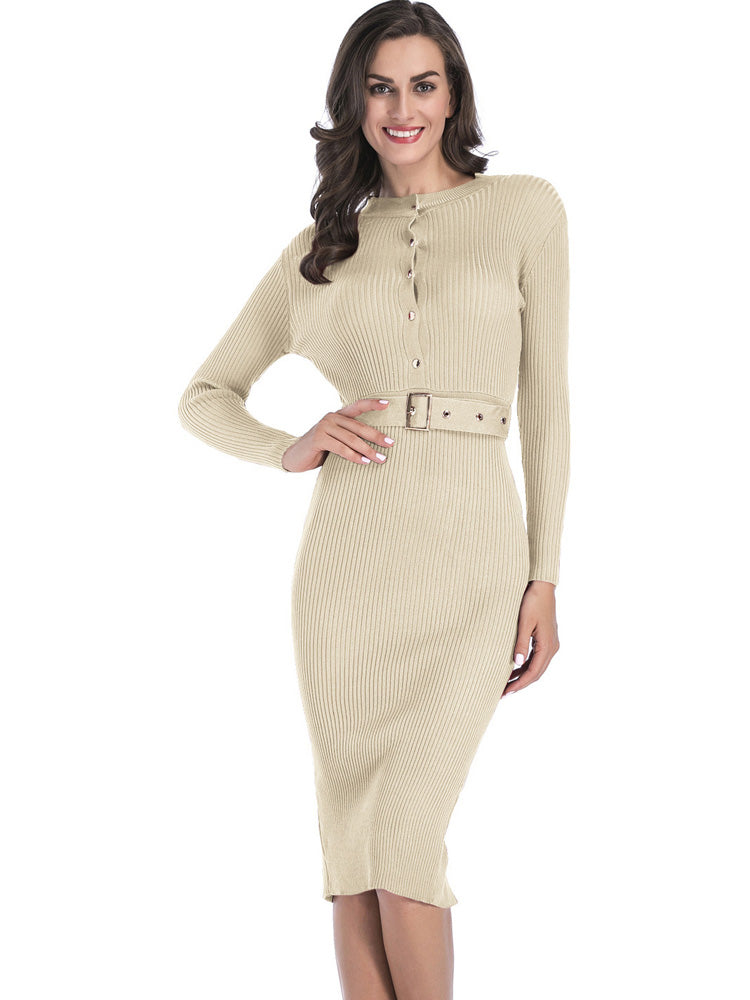 Solid color belt pencil bodycon dress