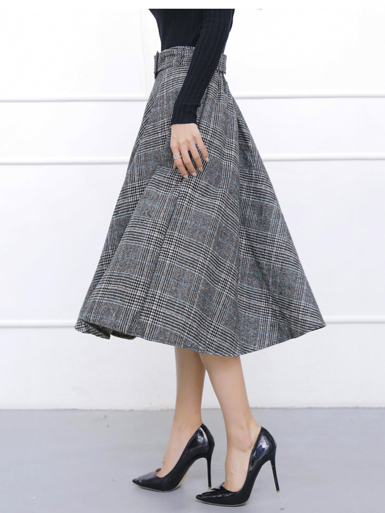 Mid-length long swing plaid retro A-line skrit
