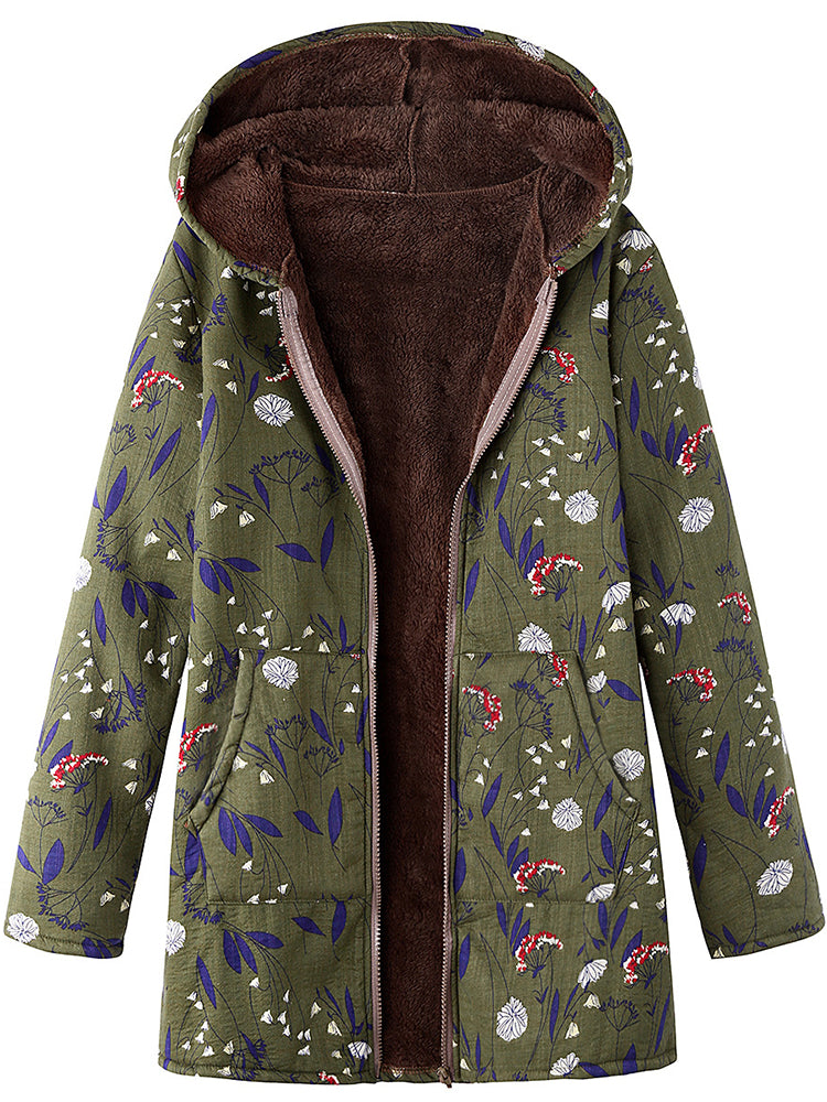 Floral Printed With Hooeded Faux Fur Coat