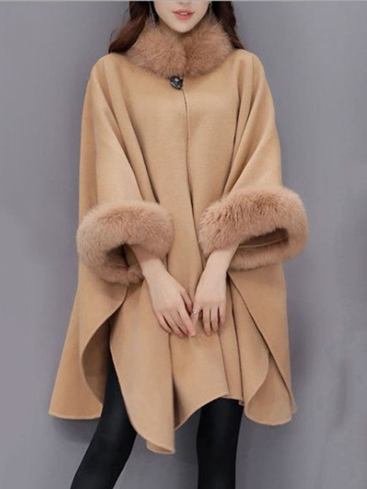 Faux Fur Turtleneck Woolen Overcoat