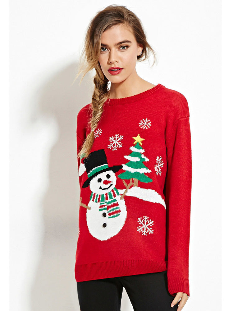 Snowman Christmas Tree Print Round Neck Pullover  Sweater