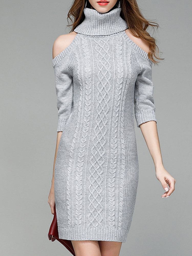 Sexy off-the-shoulder knit bodycon dress