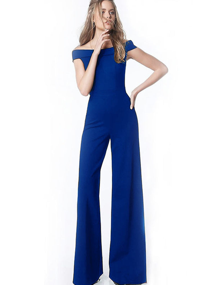 Sexy sleeveless one-shoulder blue jumpsuit