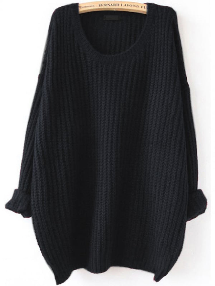 Fashion women' clothing Loose Knit Scalloped Dolman Sweater