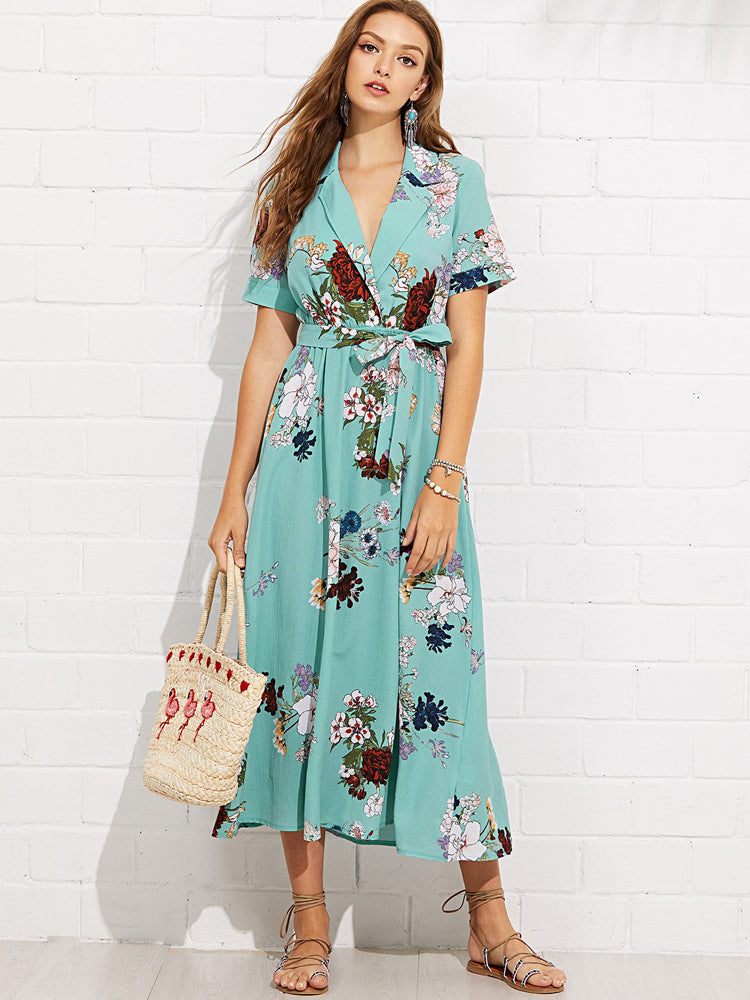 Trendy Notch Collar Wrap Front Belted Botanical Maxi Dresses