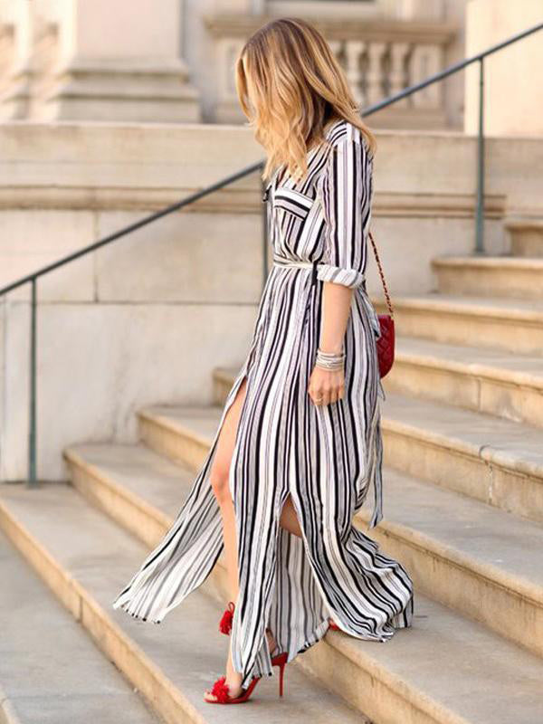 Printed Long Sleeve Loose Striped Dress