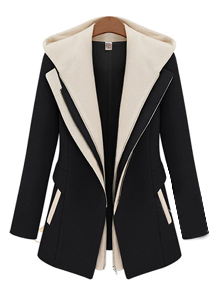 Fake two-piece zipper hooded stitching blazer