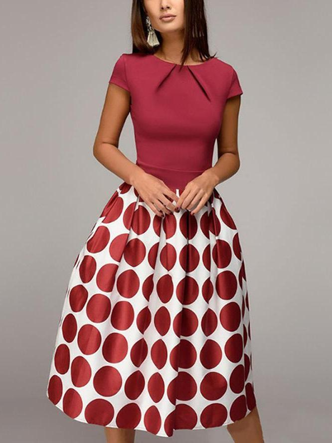 Vintage dot printed party A-line dress