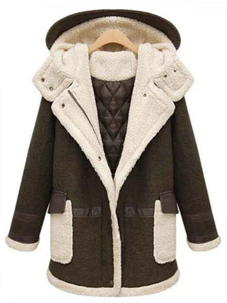Plus Size Zipper With Hooded Overcoat