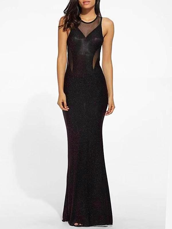 Mermaid Sleeveless O-Neck Evening Ball Maxi Dress