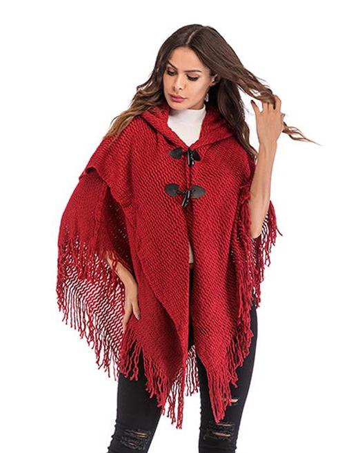 Fringed double-breasted hooded bat sleeve cape