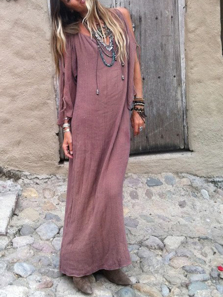 Retro deep V-neck off shoulder boho dress