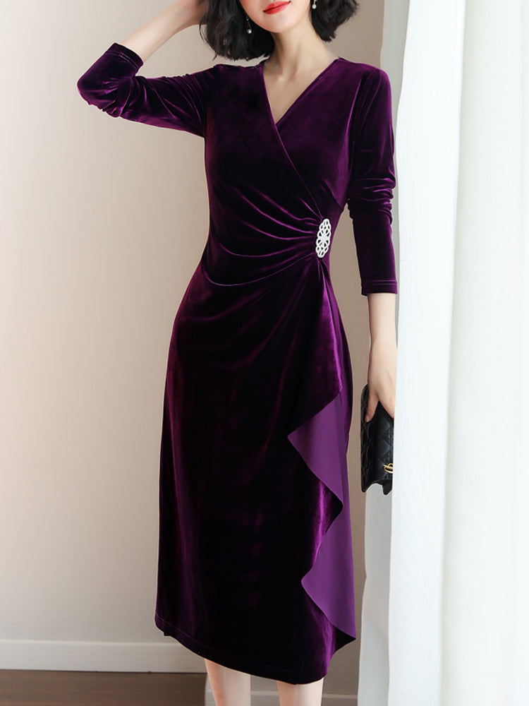 Velvet long sleeve v neck formal dress