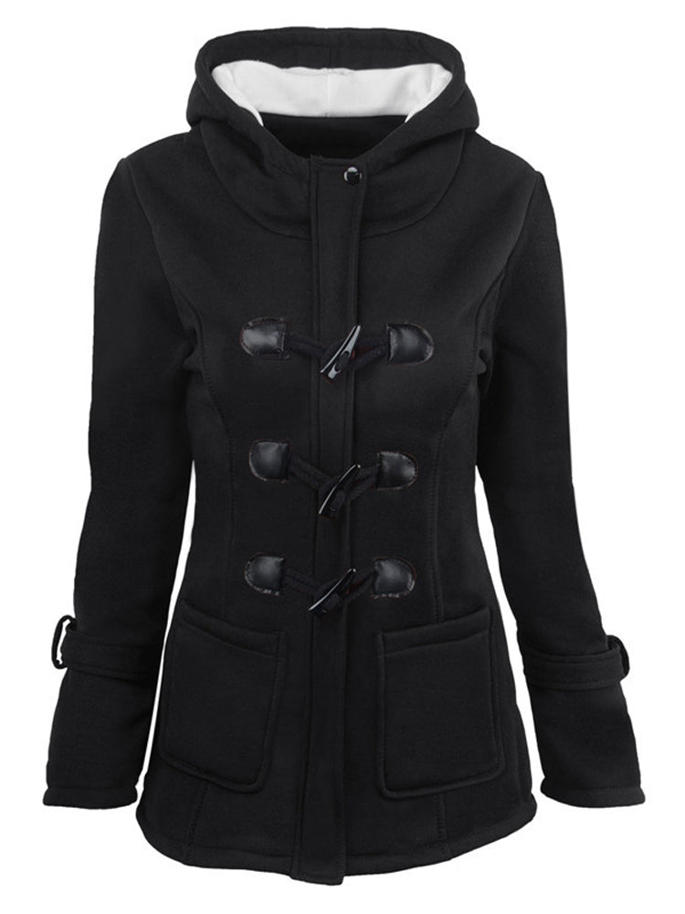 Hooded wool blend plus size cotton coat