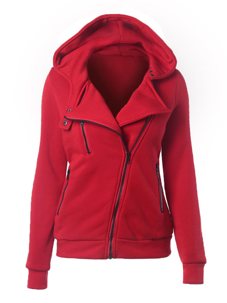 With Hooded Zipper Plain Coat