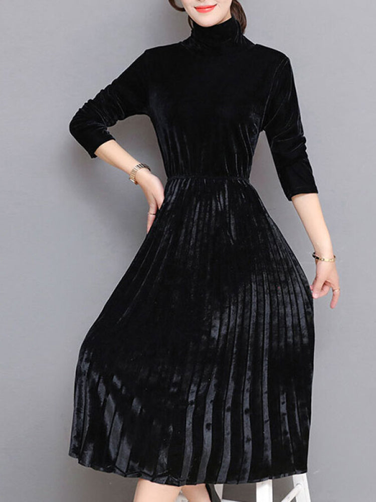 Turtleneck  pleated skirt gold velvet  A-line dress