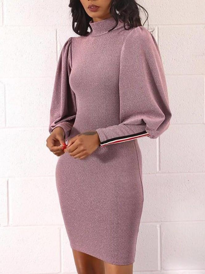 Lantern Sleeve Colorblock bodycon Dress
