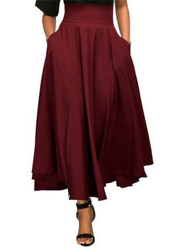 Multi-color large swing A-line skirt