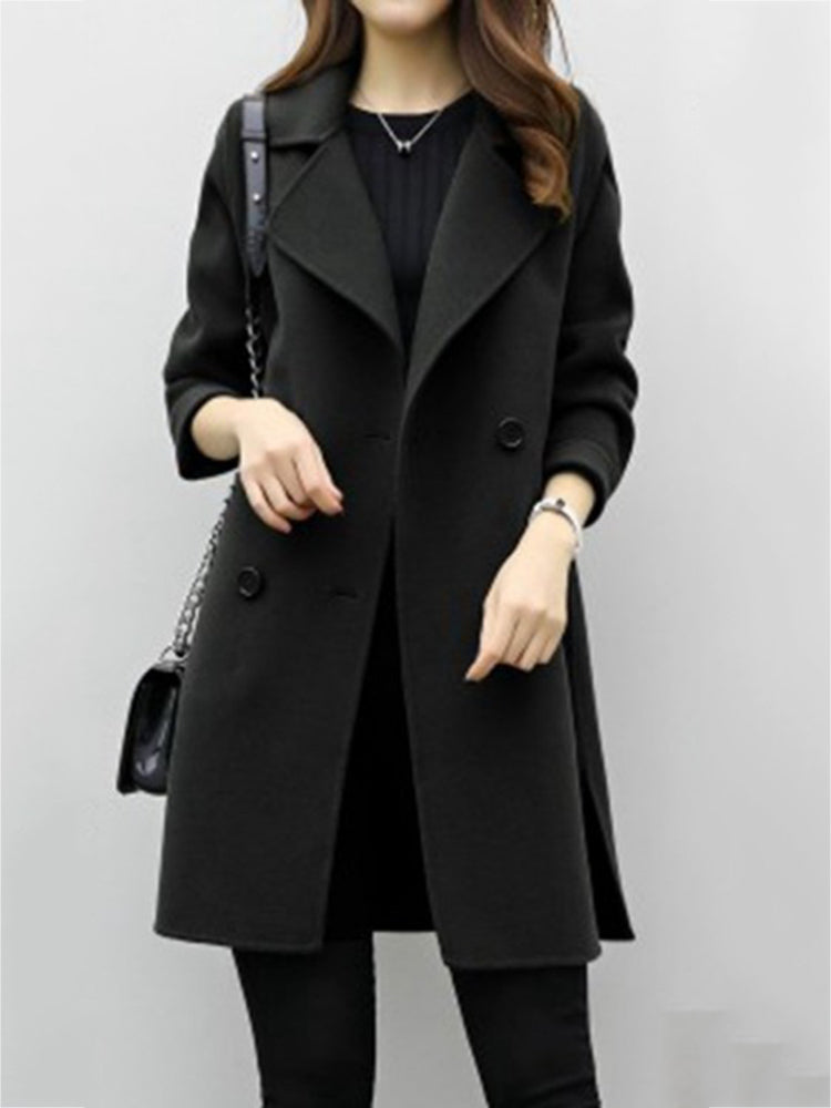 Double Breasted Lpael Neck Trench Coat