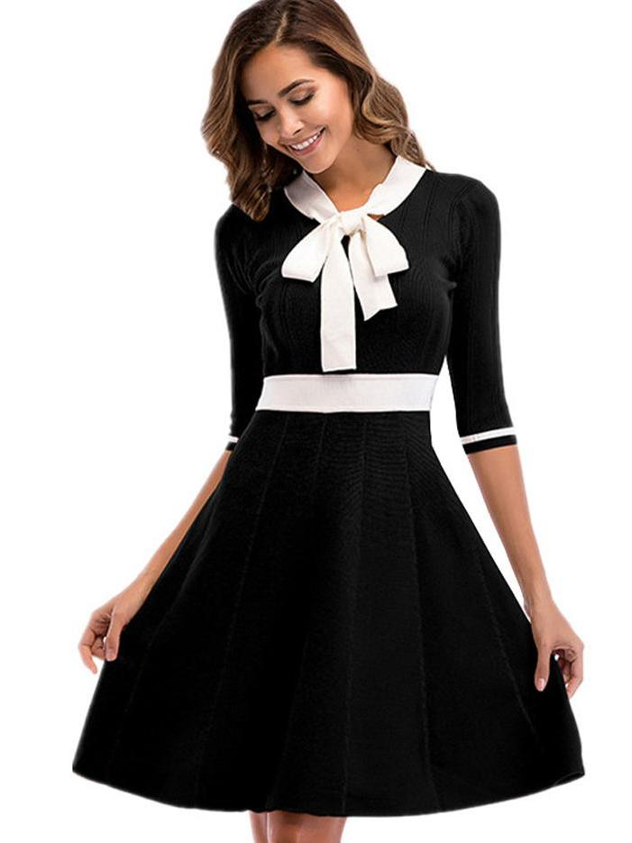 Stylish bow sleeves large size knit A-line dress