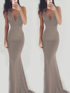 Solid color sleeveless sling backless formal dress