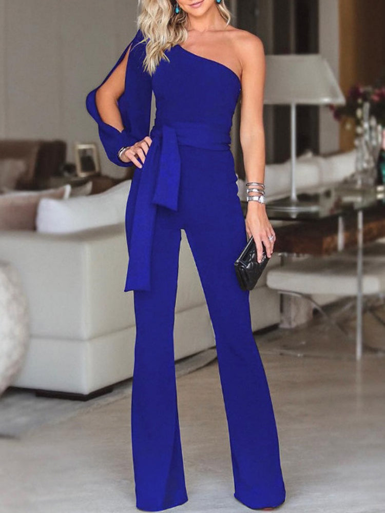 One-shoulder sleeves solid color jumpsuit