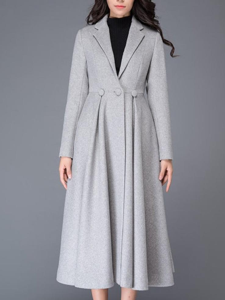 Gray Solid Color Pleated Hem Slim Fit Coat