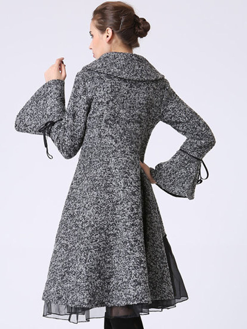 Gray Slim Fit Long Sleeve Trench Coat