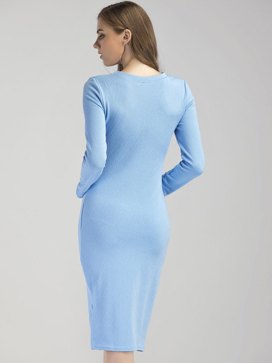 Fashion Solid Color Slim Long Sleeve Dress