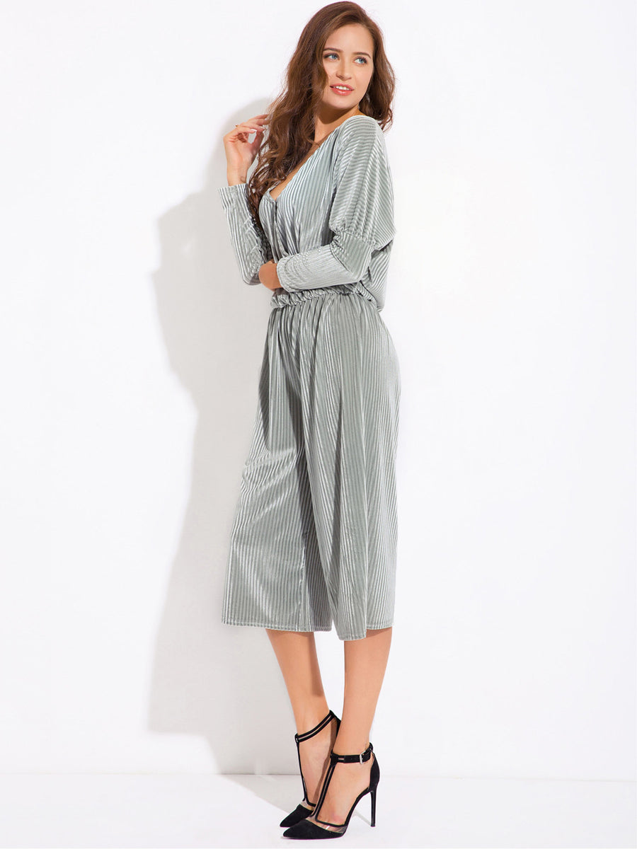 Fancy V Neck Long Sleeve Waist Jumpsuit