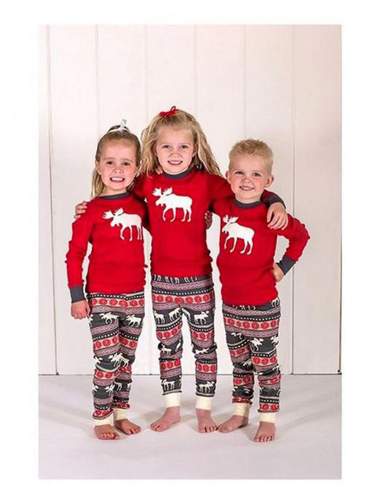 Christmas Pajamas Set Warm Adult Kids Girls Boy Mommy Sleepwear Nightwear