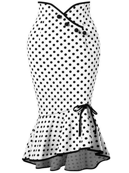 vintage white polka dots bodycon skirts