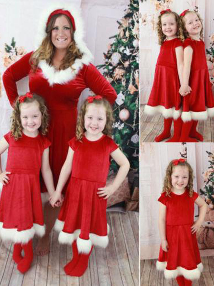 Christmas Red Swing Mother & Daughter Santa Dress